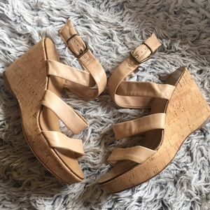 J. Crew nude leather and cork wedge in great shape